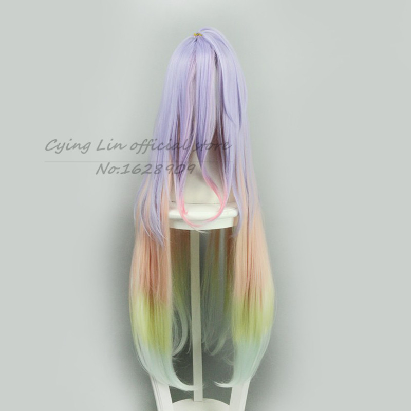 Cosplay wig No game no life Shiro Cosplay Wig Multicolour Synthetic Hair 100cm Long  Anime Cos Wigs<br><br>Aliexpress