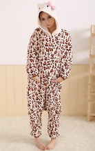 New 2013 Leopard Hello Kitty Costume Adult Romper Pajamas Onesie Unisex For Party