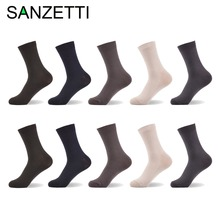 SANZETTI 10 pairs/lot Men Bamboo Socks Comfortable Anti-Bacterial Breathable Cool Casual Business Man Socks