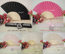 50pcs Wedding Favor Gift Personalized/Customized Printing Text Silk Hand Folding Fans Bamboo Fan in Beige/Pink/Black Gift Box