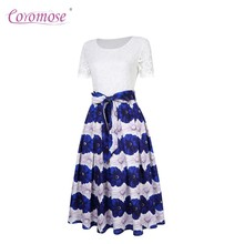 Coromose Female Swing Dress Floral Lace Short Sleeve Modest Design Comfortable Elegant Polyester Round Neckline ZK 30(China)