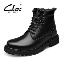 CLAX Men Winter Boots 2017 Black Motorcycle boot Male Genuine Leather Snow Shoes Plush Fur Warm Boot High Top Large Size