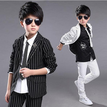 New Kids Blazers Handsome Boy Suit For Weddings Formal Striped Black White Dress Wedding Boy Blazers 2pcs Tops+Pants(China)