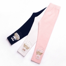 children girls blue white pink lace beading rhinestone skinny leggings kids fashion autumn spring cotton casual leggings clothes(China)