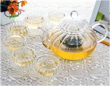 1x Pumpkin Shaped Tea Set-1*20fl.oz 600ml Heat-Resisting Glass Tea Pot+6*1fl.oz Cups