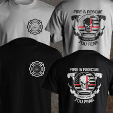 Volunteer Firefighter Dept Fireman Fight Your Fear Fire and Rescue T shirt Men two sides %100 cotton tee USA Size S-3XL