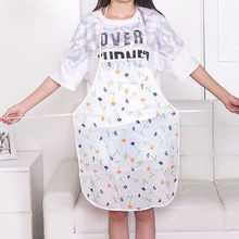 PVC Waterproof Floral Women Kitchen Bib Aprons Dress Kitchen Cleaning Tool oil-proof Bibs  For Adult Color Sent By Random