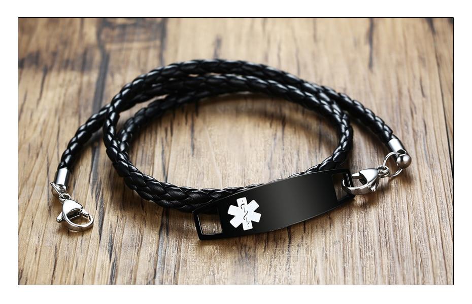 Meaeguet Black Pu Leather Medical Alert ID Bracelet Free & Laser Personalized Stainless Steel Charm Bracelet & Bangle (4)