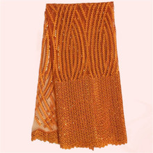 Luxury orange tulle lace material French net lace fabric African mesh material for wedding dress JNZ24-5(5yards/lot)(China)