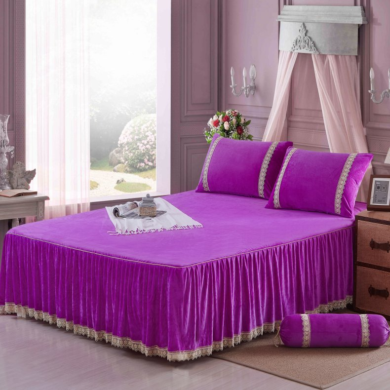 3Pcs Fleece Bed Skirt Set W/ Pillowcases, Mattress Protective Cover 54