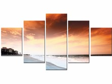 Hot Sales 5pieces frame Wall Art Picture Gift Home Decoration Canvas Print painting beautiful sea Sunset wholesale/J009-HBLR-009(China)