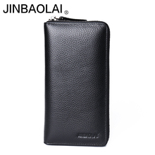 Genuine leather male clutch long Top quality wallet men top cowhide multifunction wallet card holders cellphone pocket