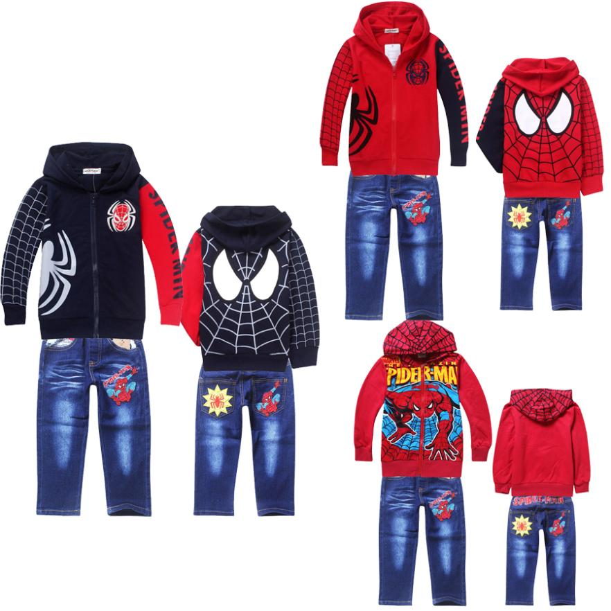 spiderman boys clothing set winter kids clothes long sleeve zipper up children hoodies jacket coat waistband denim jeans suit<br><br>Aliexpress