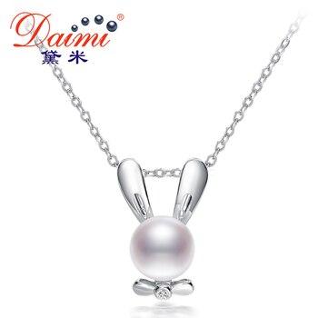 DAIMI Кролик Кулон 7.5-8 ММ White Pearl River Ожерелье 925-Sterling-Sliver Ювелирные Изделия Лучший Подарок Для Девушки