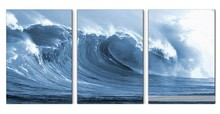 Hand Painted Ocean Waves Oil Painting On Canvas Mural 3 Panels Modern Wall Painting Wall Picture Seascape Home Decor 16*24 inch