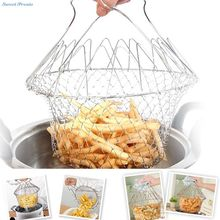 Sweettreats Fry French Chef Basket , Foldable Steam Rinse Strain Stainless Steel Strainer Net Basket for Kitchen Cooking