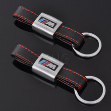 Leather Metal Keychain Key Chain Keyring Ring For BMW M Tech M Sport M3 M5 X1 X3 E46 E39 E60 F30 E90 F10 F30 E36 X5 E53 E30 E34(China)