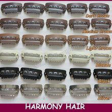 Free shipping!! 1000 pieces/bag 2.8cm 6 teeth U shape small hair extension snap clips 6 colors for your choices