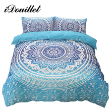 iDouillet Bohemia Bedding Printing Blue Mandala Reversible Duvet Cover Set with Pillowcases Twin Queen King Size Bedclothes