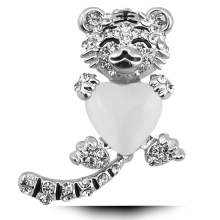 Cute Tiger Brooches For Women Fine Opal Rhinestone Heart Shape Brooches Elegant Party Brooches Jewelry Accessories Good Gifts