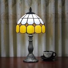 Stained Glass Mediterranean Simple orange Creative Retro Art Ornament lighting bedroom Bedside decorative desk lamp 110-240V E27(China)