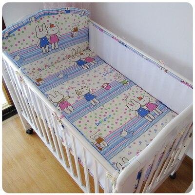 Promotion! 5PCS crib bumper Cotton Baby Bedding Set Cartoon Pattern Reactive Printing babies bedding ,include:(4bumper+sheet)<br><br>Aliexpress