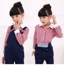 Children's Garment Child Spring All-match Fine Lattice Long Sleeve Shirt-overall Girl 2 Pieces Kids Clothing Sets