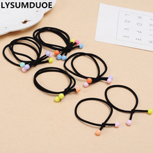 Fashion 10pc Elastic Hair Band Girl Hairband Women Ring Multicolor Bead Ponytail Holder Rope Black Gift Jewelry Hair Accessories