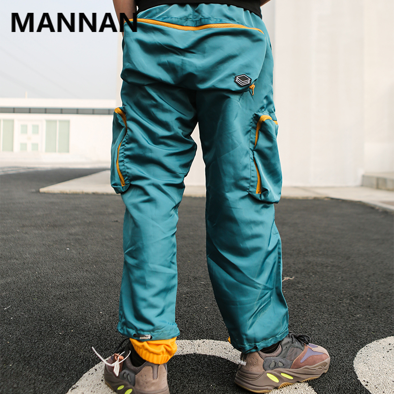 MANNAN Color Block Harem Pants Mens 2019 Summer Fashion Streetwear Creative Embroidery Skateboard Joggers Track Trousers