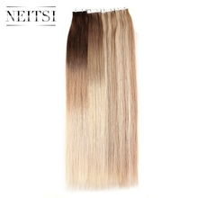 "Neitsi Machine Made Remy Mini Heart Tape In Human Hair Piece 20"" 2.0g/pc Natural Straight Skin Weft Hair Extensions 13 Colors(China)"
