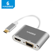 Hagibis USB 3,1 Тип C USB-C к HDMI адаптер 4 K HD 1080 P 2 в 1 USB-C конвертер VGA кабель для Apple Macbook Chromebook dell(China)