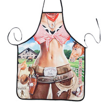 Free Shipping Hotsale Novelty Cooking Kitchen Cool Cowgirl Print Sexy Apron Baking Present Pinafore Chef Funny funny apron(China)