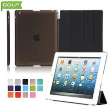 GOLP Case for iPad 2 3 4 Attractive Perfect Fit 2 In 1 Magnet PU Leather Smart Cover PC Translucent Back Case for iPad 2 4 A1430(China)