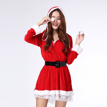 New 2017 Hooded Santa Claus Xmas Dress Women Adult Women Party Lace Sexy Uniform Christmas  Halloween Costume Hoodie
