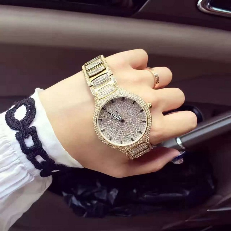 3 color brand Women Rhinestone Watches Rose Gold Dress Watches Full Diamond Crystal Womens Luxury Watches Female reloj mujer<br>