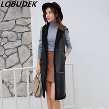 autumn winter PU leather cashmere long female vest coat outerwear women's black Thickened fashion slim long leather waistcoat