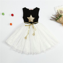 2017 New Summer Casual Dresses For Girls  A-Line Little Stars Children Costume Sparkle Princess Dress For Baby Girl KIds Clothes