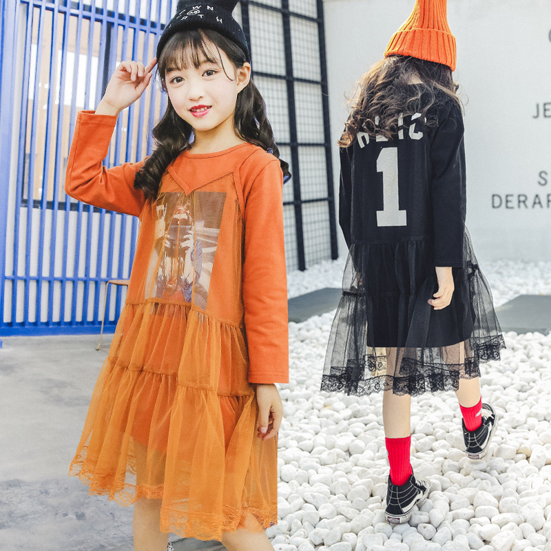2018 spring new dress long-sleeved T-shirt mesh stitching dress girls sweatershirt dress<br>