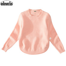 Solid Sweaters For Girls Arc Bottoming Sweater Shirts Autumn Winter Knitted Sweaters For Kids Tops 2017 Children Clothes(China)