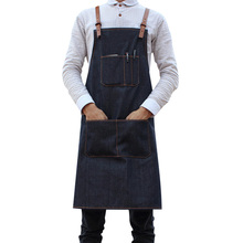 Women Sleeveless Apron Waitress Workwear Denim Chef Adjusted Straps Working Apron Cleaning Aprons Uniforms Work Aprons Men