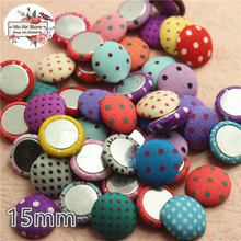 50pcs mix color Flatback point Fabric Covered round Buttons Home Garden Crafts Cabochon Scrapbooking DIY 15mm