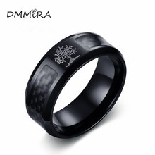 Fashion Male Life Tree Rings Vintage Black Stainless Steel Tree of Life Carbon Fibre Finger Rings Jewelry For Cool Men(China)
