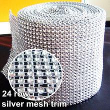 Wedding Decoration 10 Yards Silver Base Mesh Trimming Hollow Imitation Crystal Ribbon Rhinestone Mesh Trim B0588(China)