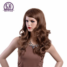MSIWIGS Long Wavy Blonde Wigs Natural Full Synthetic Ombre Wig for Women Two Models  High Temperature Fiber