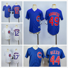 Youth 44 Anthony Rizzo 49 Jake Arrieta 12 Kyle Schwarber Jersey White Blue