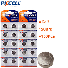 150Pcs/15card PKCELL 1.5V AG13 LR44 L1154 RW82 RW42 SR1154 SP76 A76 357A AG 13 Button Coin Cell Batteries