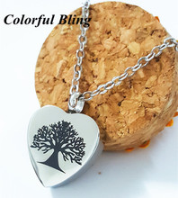 family tree ash pendant 361L steel silver heart cremation urn pendant of necklace woman jewelry accessaries(China)