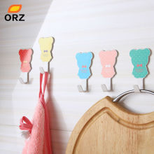 ORZ 5PCS/Set Colorful Bear Shape Wall Hook Hat Bag Key Adhesive Robe Hook Storage Wall Hanger Bathroom Kitchen Accessories(China)