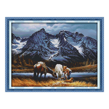Joy Sunday chinese crossstitch kit Romances under the snow mountains DMC14CT11CTcottonfabric livingroom hotel painting wholesale