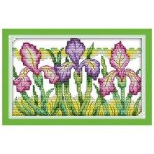 Великолепная Iris узоры Счетный крест ручной вышивки крестом 11CT 14CT Хлопок Вышивка крестом Наборы Вышивка для рукоделия(China)